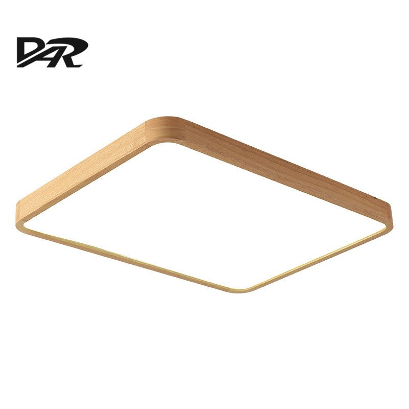 DAR Wooden Ceiling Light Square Rectangle Chandelier Ceiling Lamp Surface Mounted Modern Led Ceiling Lights For Living Room