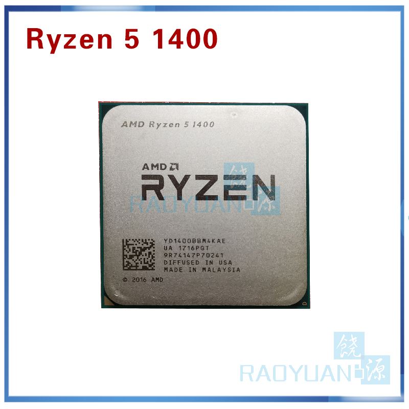 AMD Ryzen 5 1400 R5 1400 R5-1400 3.2 GHz Quad-Core CPU Processor YD1400BBM4KAE Socket AM4