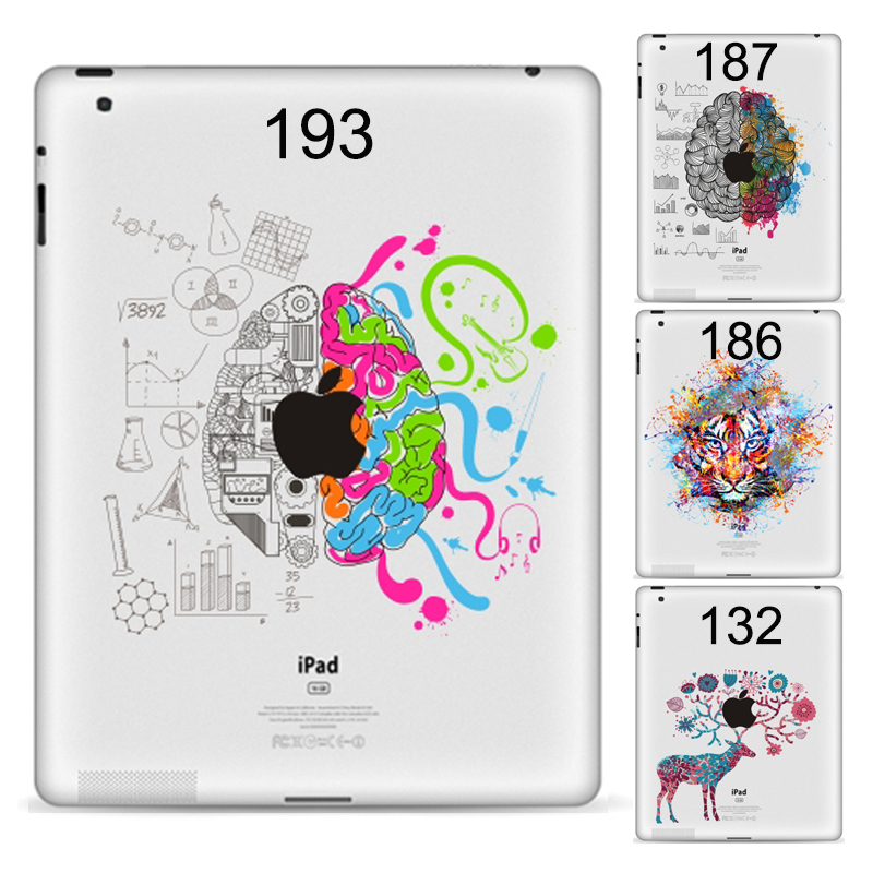 GOOYIYO - DIY Personality Tablet Partial Sticker Vinyl Decal Left Right Brain Painting Protective Skin For IPad 234 9.7
