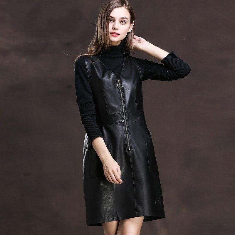 2019 primavera mujeres negro rojo piel de oveja cuero genuino correas Vestidos sin mangas una línea Mini vestido de sol cremallera Rock Fiesta Vestidos-in Vestidos from Ropa de mujer    3