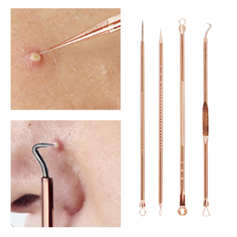 Rose Gold Acne Removal Needle From Acne Pimples Pimple Blackhead And Comedone Acne Extractor Remover Acne Needle Treatment 4pcs Комедон
