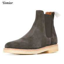 Yomior Men's Chelsea Boots 100% Genuine Leather Handmade Luxury Brand Party Wedding Dress Shoes Winter Casual Boots Big Size