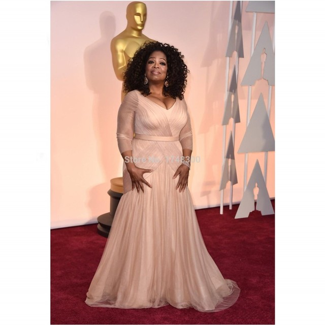 Oprah Winfrey Oscar red carpet dresses V Neck Ruched simple leaf ...