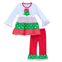 Top Selling Girls Christmas Fall Sets Christmas Full Sleeve Tree Top Red Ruffle Pants Boutique Bow Kids Clothing C012