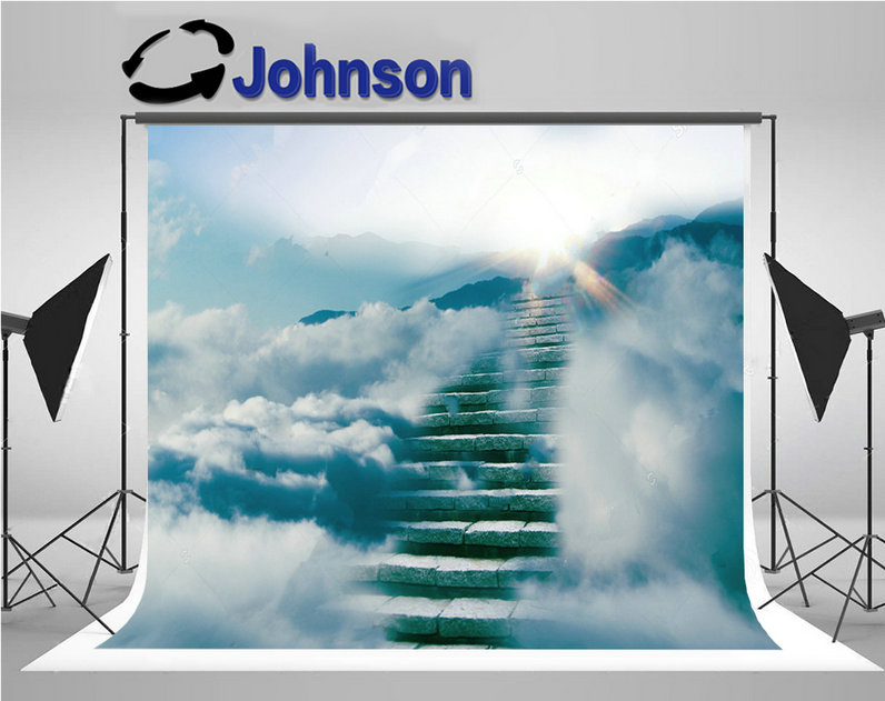 broadway success stair blue cloud sun photo backdrop Vinyl cloth High quality Computer print wall backgrounds