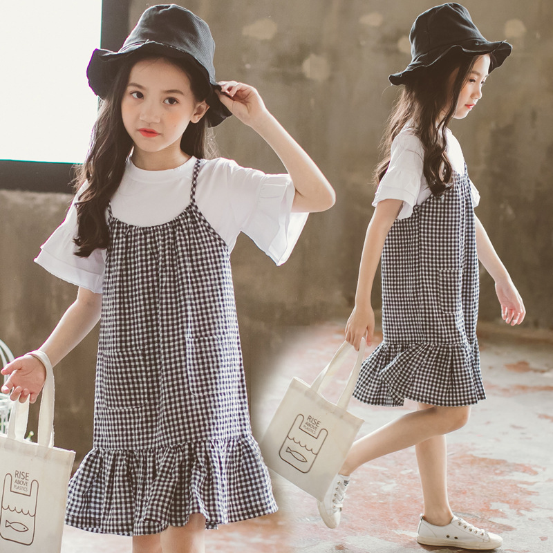 Korean Style 2 Pcs/Set Girl Summer Casual Cute Clothes Set Kids Teenagers Cotton Plaid T shirt & Suspender Princess Dress Set