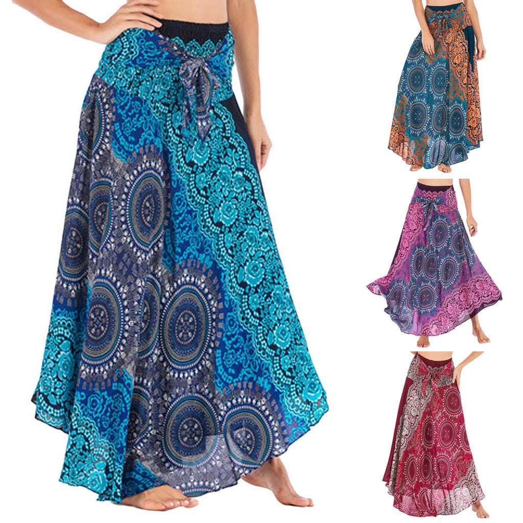 Womail Women Skirt Summer Fashion Long Hippie Bohemian Gypsy Boho Flowers Elastic Waist Floral Halter Skirt  2020  F10