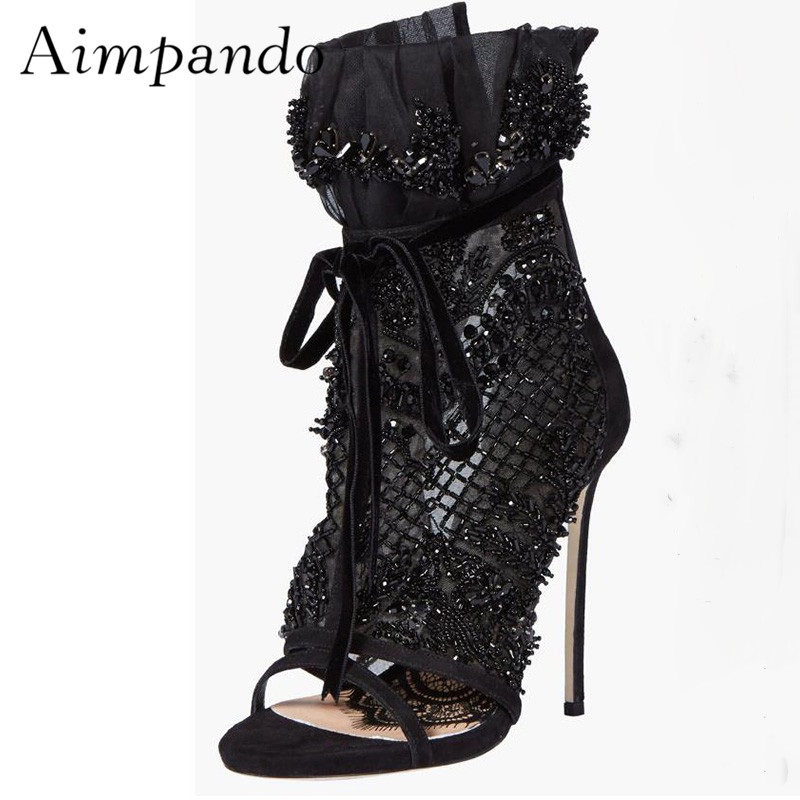 2019 Sexy Gladiator Sandals Woman Open Toe Lace Embroidery Flower Rhinestone High Heel Shoes Women Cut Out Summer Ankle Boots