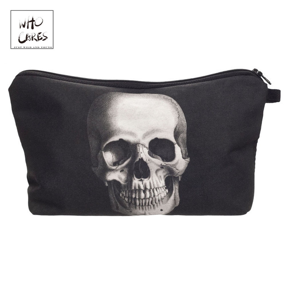 Who Cares Fashion printing Skull Monster Makeup Bags Cosmetic Organizer Bag Pouchs For