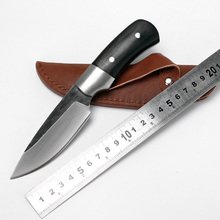 High-carbon damascus ebony forged rescue fixed blade handmade survival handle knife