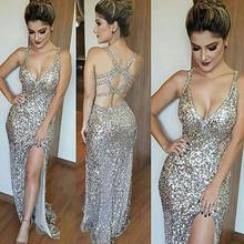 Bling Bling New Evening Dress 2019 V-Neck Sleeveless Floor Length Side Slit Beading Tulle Prom Dresses Robe de soriee(China)