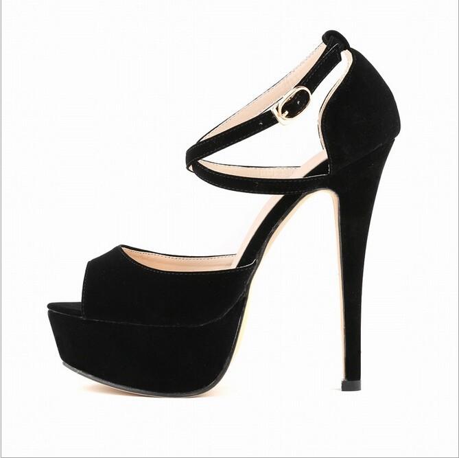 f56be1f2 Verano 2017 moda Sandalias Zapatos estilo mujer novia Cruz correas Super  alto tacones. 2 3 4 5 6 7 8 9 ...