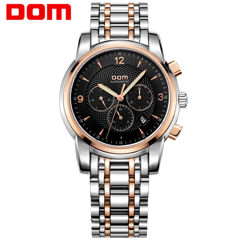 DOM Men watches top brand luxury Sport waterproof Automatic Skeleton mechanical stainless steel Mens Watch Business reloj M-813 tevise men black stainless steel automatic mechanical watch luminous analog mens skeleton watches top brand luxury 9008g