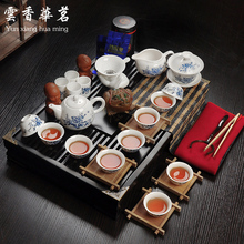 Ceramic porcelain white porcelain tea set special set of Kung Fu tea ceremony wood tray tea table