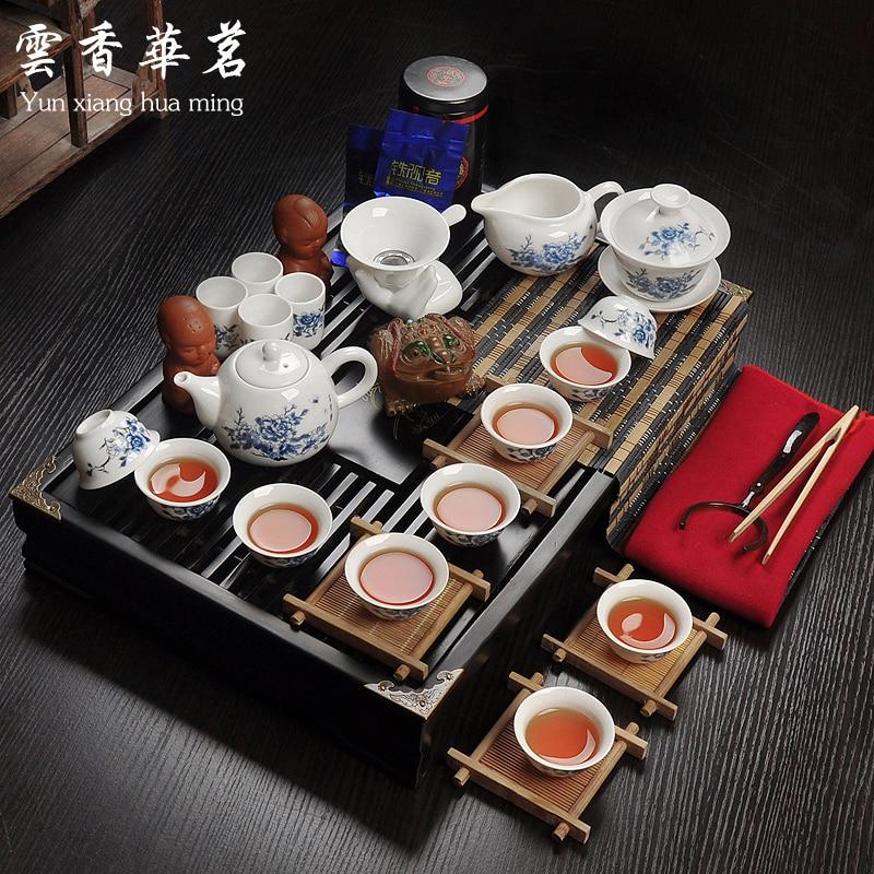 Ceramic porcelain white porcelain tea set special set of Kung Fu tea ceremony wood tray tea table
