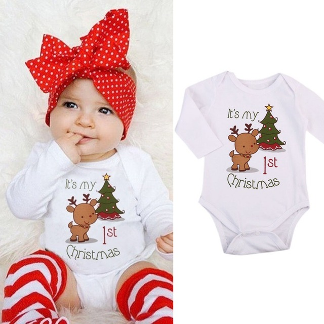 ee226f9ba37 Baby Romper Newborn Boys Girl Cartoon deer Christmas Xmas Tree Print Long  Sleeve Jumpsuit Kids infant Cotton Outfits Clothes