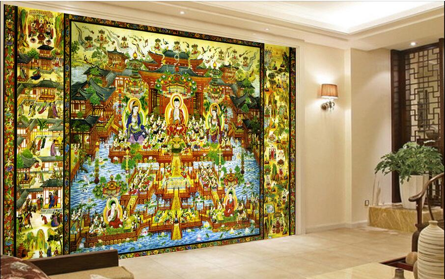 3d wallpaper custom photo non woven mural wall sticker Buddhism ...