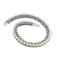 2017 New York Pave Cross Double-Row Silver-Tone Grey and White Faux Pearl Maxi Necklace