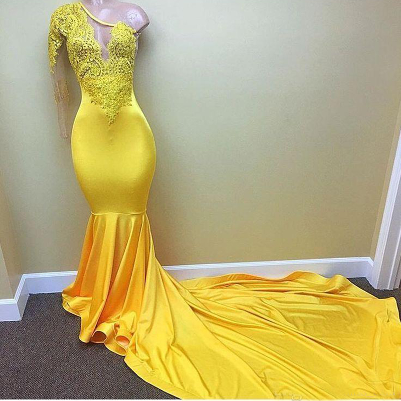 Sexy Yellow One shoulder Long Sleeve Black Girls   Prom     Dresses   2019 Appliques Lace Evening   Dress   Mermaid African Party Gowns