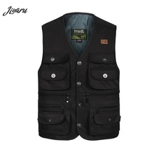 Новые мужские жилеты с v-образным вырезом без рукавов куртки мужские повседневные Свободный жилет мужские Мульти-жилеты с карманами для мужчин прочные Жилеты размер XL-4XL