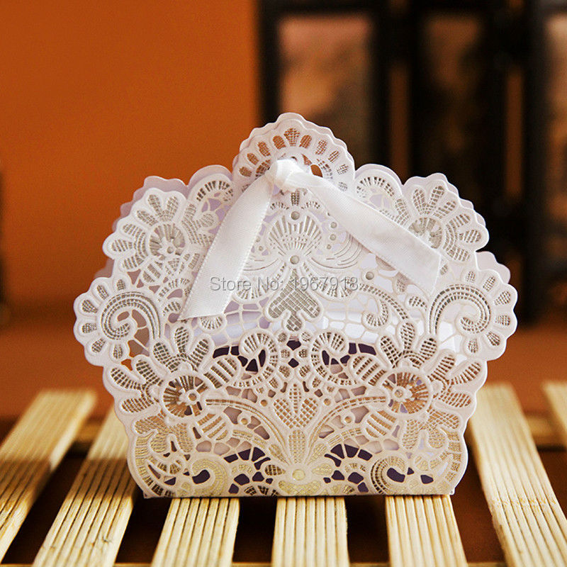 Sale 100pcs Wedding Candy Box Gold Red White Laser Cut