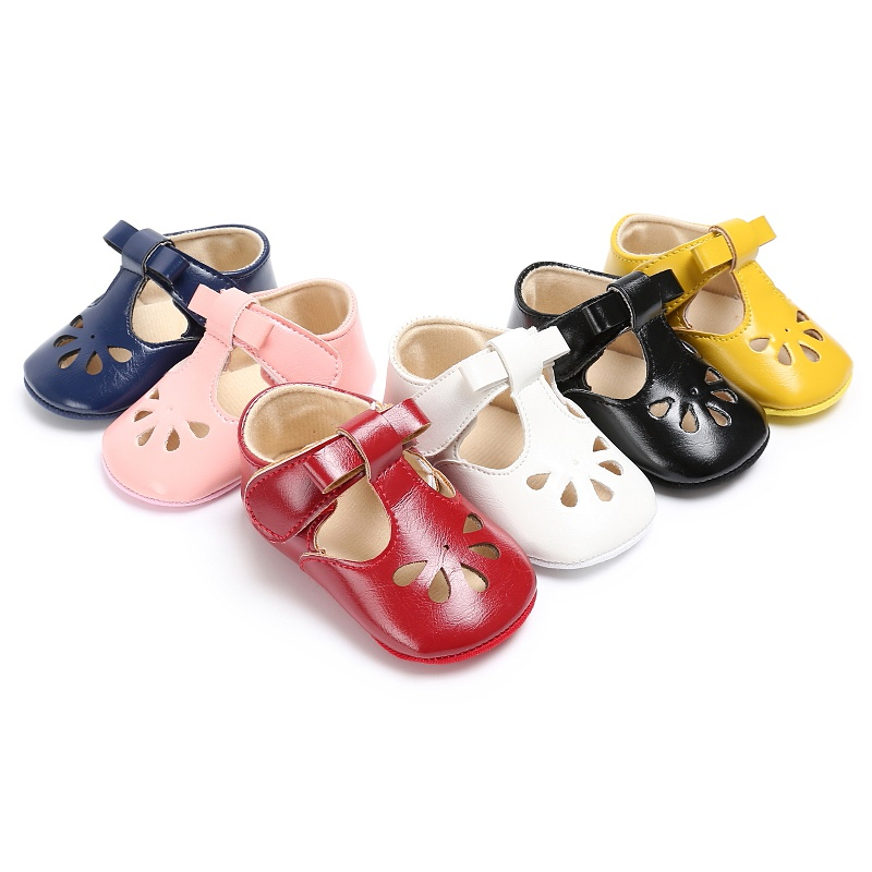Summer Newborn Cute Baby Girls Chic PU Leather Hollow Out Princess Style Non-slip Shoes 0-18 Months