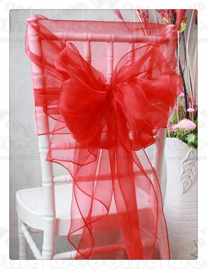 61 Color--2/3 50*200CM 100PCS Organza Chair Hoods/Caps/Sash For Wedding Event&Party&Home&Banquet Decoration Textile