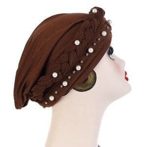 Image 5 - Muslim Women Cross Silk Braid White Pearl Turban Hat Scarf Cancer Chemo Beanie Cap Hijab Headwear Head Wrap Hair Accessories