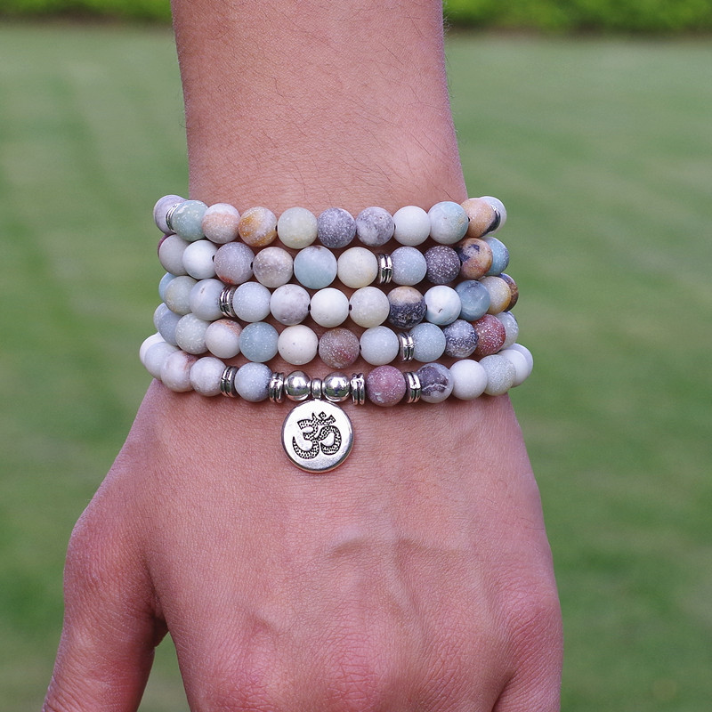 Frauen Männer Schmuck 8mm Matte Amazonite Stein Perlen OM Charme Strang Armband 108 Mala Perlen Yoga Chakra Armband oder halskette