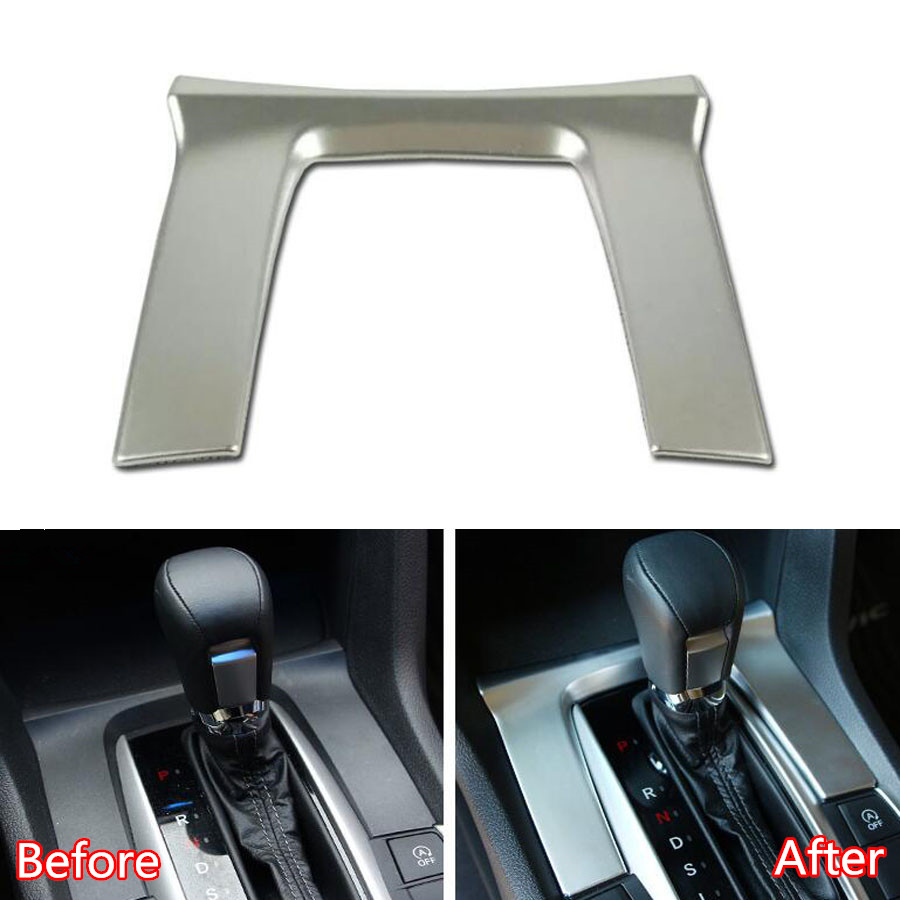 YAQUICKA Car Interior Accessories Gear Shift Panel Cover Trim Molding Styling For Honda Civic 10th 2016 2017 Chrome ABS Matte car abs matte chrome center console panel molding trim for land rover discovery 4 2010 2016 accessories car styling