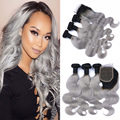Plata gris ombre human hair bundles con lace closure 1b gris Ombre Body Wave Malaysian Virgin Pelo Humano Gris Con paquetes