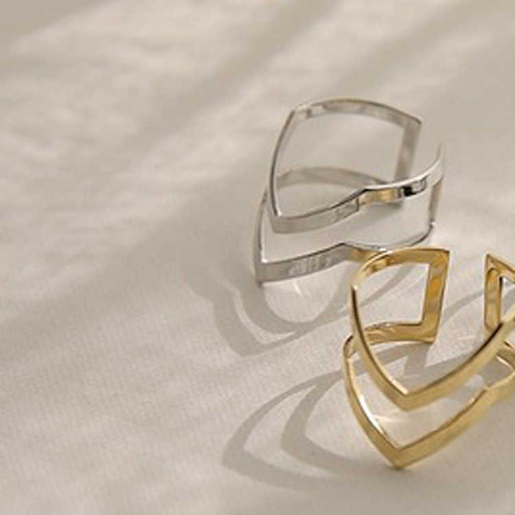 Двойной v-образный приоткрыл Регулируемый Винтаж женщина Кольца Очаровательная Ювелирные кольцо Модные Золотой Цвет серебристый цвет