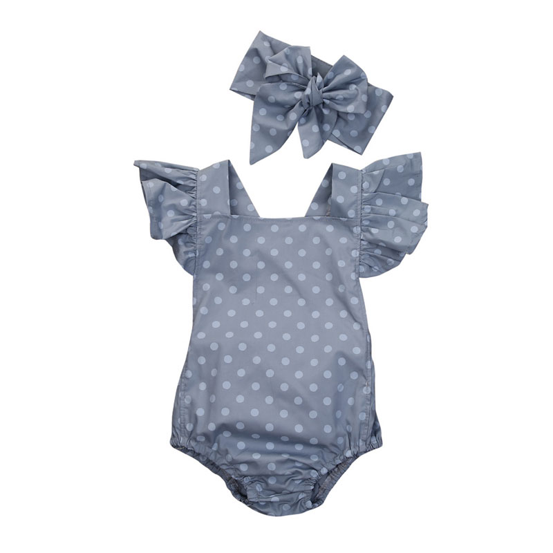 Cute Polka Dot Newborn Baby Girls Clothes Butterfly Sleeve   Romper   With Headband Jumpsuit Sunsuit Baby Girls Summer Costumes CXD0