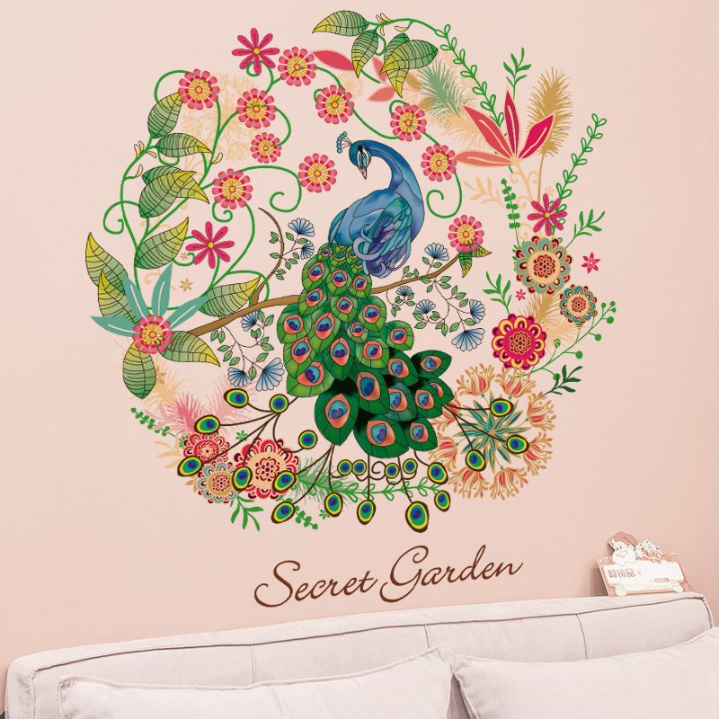 Charmant Floral Hoop Peacock Wall Decal Home Decor Flowers Peacock Wall Mural Poster  Secret Garden Living Room Study Wall Paper Art In Wall Stickers From Home  ...