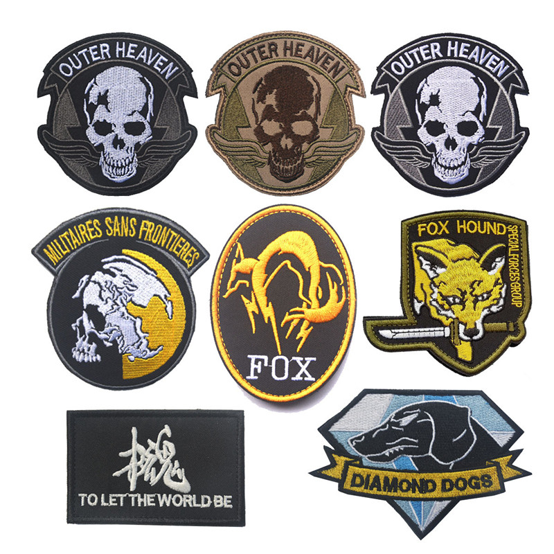 Metal Gear Solid MGS 5 Diamond Dogs Army Special Force Group Ghost Embroidered Patch Stripes sticker for clothing military patch
