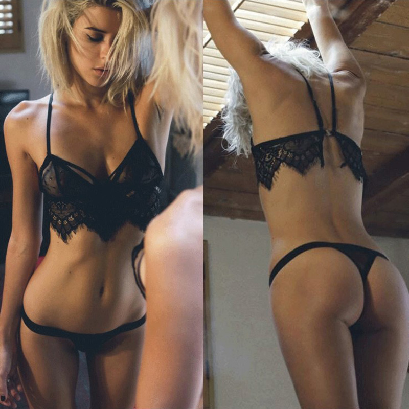 Hot Women Bikini Set Three-point eyelash lace hollow sexy underwear Erotic Thin Cap Bra and brief Sexy Lingerie Set Porn Pajamas