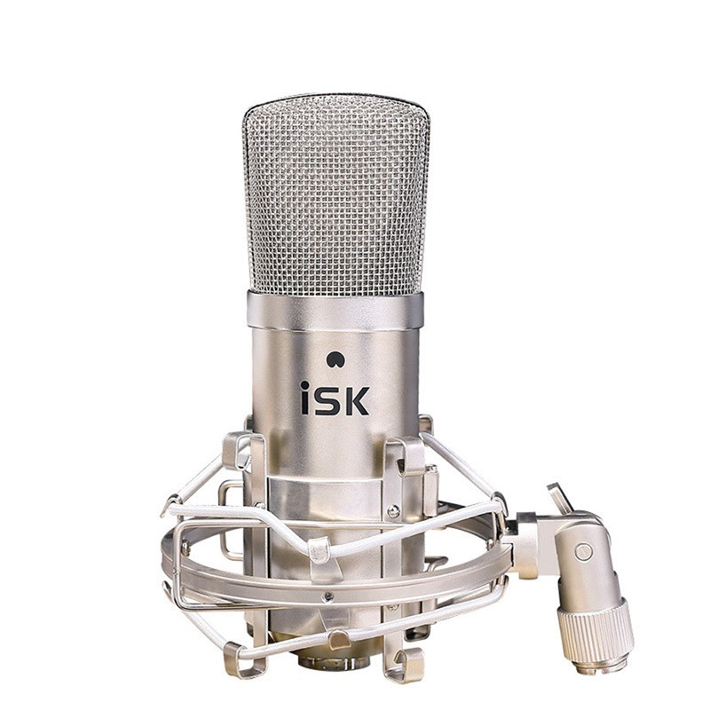 Promotion Original new ISK BM-800 professional recording microphone condenser mic for studio and broadcasting without carry case 3 5mm jack audio condenser microphone mic studio sound recording wired microfone with stand for radio braodcasting singing