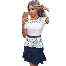 2017 New Elegant Women's Short Sleeves O Neck Fashion Casual Dresses Sexy Lace Top Hem Stitching Fishtail Dress