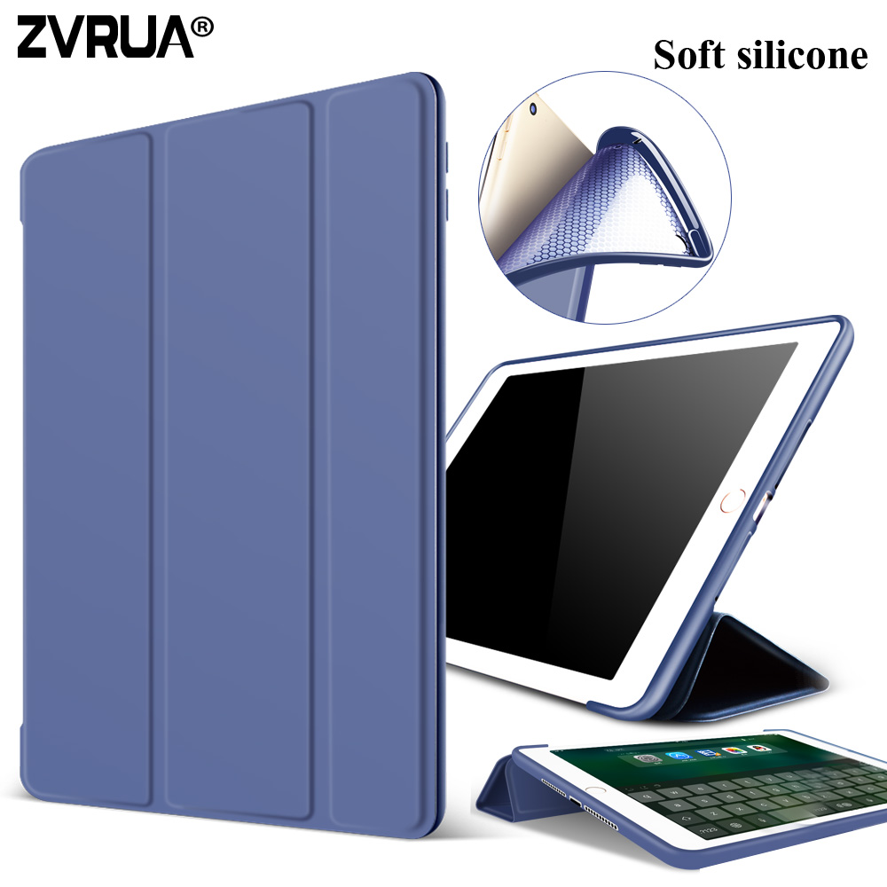 Case for New iPad 9.7 inch 2017 2018 Release model A1822 A1823 A1893, Soft silicone bottom+PU Leather Smart Cover Auto Sleep