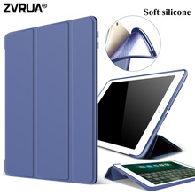 Case for New iPad 9.7 inch 2017, ZVRUA Soft silicone bottom+PU Leather Smart Cover Auto Sleep For New iPad 9.7″ 2017 Release