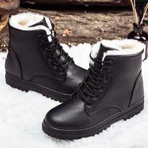 Image 1 - קרסול מגפי נשים 2020 חורף קטיפה חמים קלאסי שלג מגפי נשים גומי החלקה שחור נשי אתחול בתוספת גודל 41 44