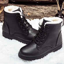 Black boots women winter shoes women's boot 2019 classic style ankle boots for woman snow booties warm shoes plus size 41-44(China)