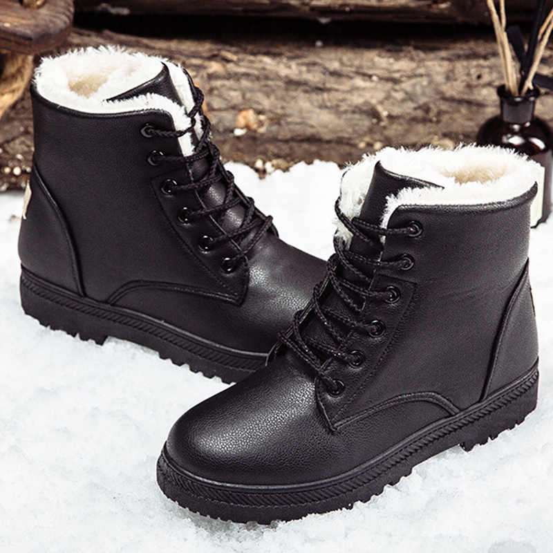Siyah çizmeler kadın kış ayakkabı kadın çizme 2019 klasik tarzı yarım çizmeler kadın kar patik sıcak ayakkabı artı boyutu 41- 44