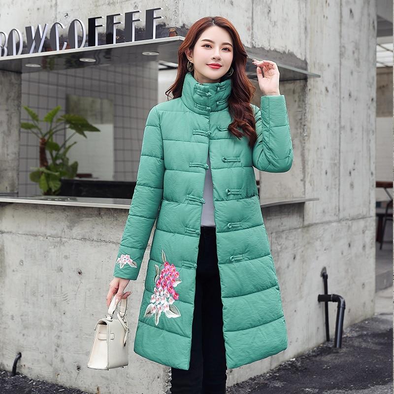 2019 Winter Jacket Women stand collar   Parka   Coats embroidery Cotton Padded Winter Coat Women Warm Thicken Jaqueta Feminina