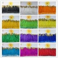 Многоцветный украшение из гусиных перьев 100 ярдов/партия окрашенная гусиное перо ленты/15-20 см бахрома из гусиных перьев высокое качество Пл...