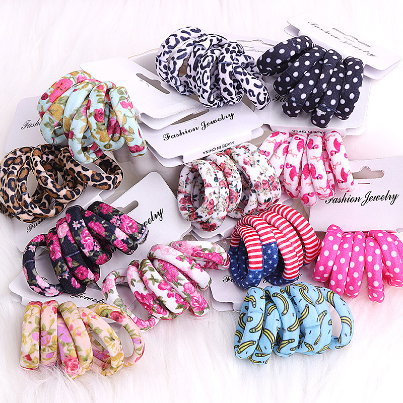 6Pcs/Pack Cotton Print Flowers Hair Ropes Leopard High Elastic Hair bands Elegance Hair Gum For Women Girls Hair Accessories