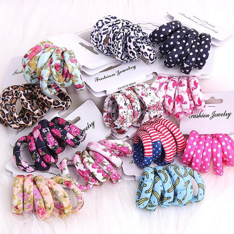 6Pcs/Pack Cotton Print Flowers Hair Ropes Leopard High Elastic Hair bands Elegance Hair Gum For Women Girls Hair Accessories