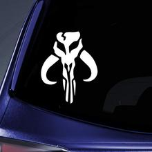 Bargain Max Decals - Mandalorian Skull Boba Fett - Sticker Decal Notebook Car Laptop 6 (White)