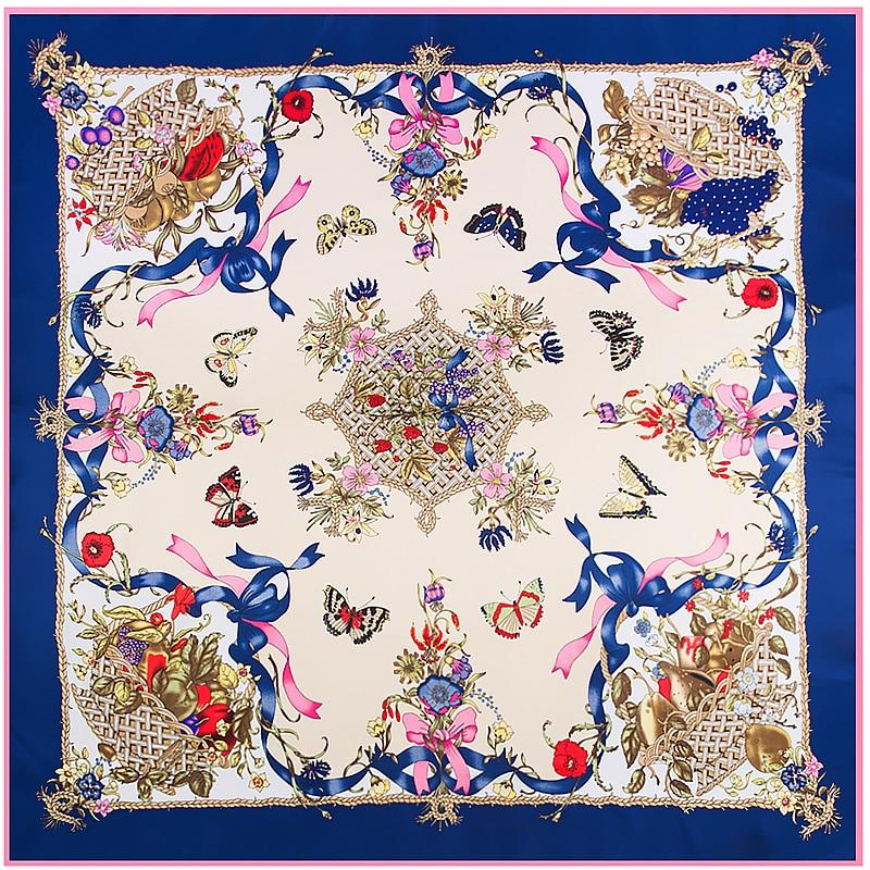 POBING 100% Twill Silk Scarf Women Luxury Designer Butterfly Print Square Scarves Wraps Large Shawls Silk Stoles 130*130CM