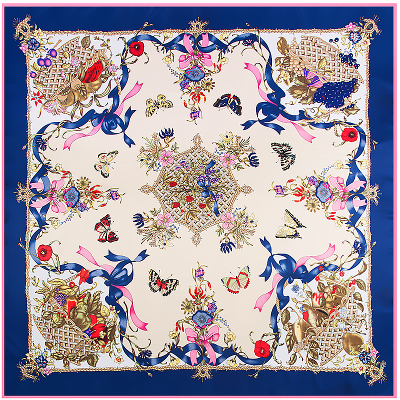 POBING 100% Twill Silk Square   Scarf   Luxury Brand Designer Butterfly Printed   Scarves     Wraps   Large Shawls Silk Stoles 130*130CM
